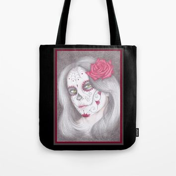 Dia De Los Muertos - Rose Tote Bag by drawingsbylam