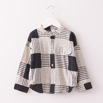Baby Girls Spring autumn cotton Mandarin collar blouse Children plaid Clothes Kids Long Sleeve Casual Shirt Clothing