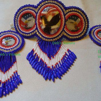 Native American Style Rosette beaded Patriotic Eagle Barrette and Earring set