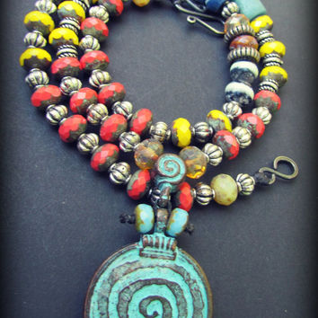 TRIBAL CIRCLE PENDANT Necklace~Turquoise Necklace~Earthy Rustic Bohemian Jewelry ~ Pendant Necklace~Women's Jewelry