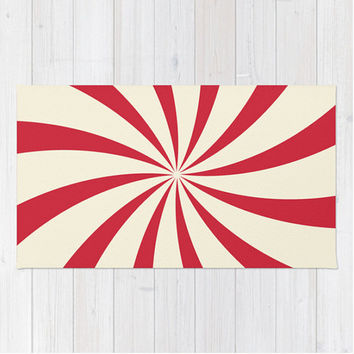 Red Swirl Area Rug Circus Sunburst Red Cream Retro Nursery Apartment Modern Home Decor
