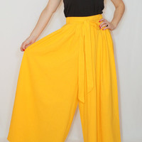 Wide leg cotton pants Women Yellow pants Wide leg pant skirt
