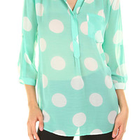 Mint Polka Dot Sheer Tunic Top Must Have Chic Everyday Wear Perfect for Spring and Summer Layering top gifts for her gifts under 30