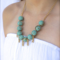 Free Shipping Jewelry - TURQUOISE NECKLACE, GOLD Chain by Cheydrea