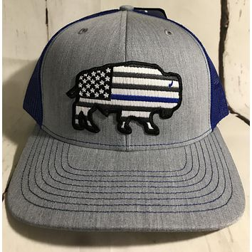 "Red Dirt Hat Co ""Thin Blue Line"" Heather Grey / Blue Snap Back Trucker Hat"