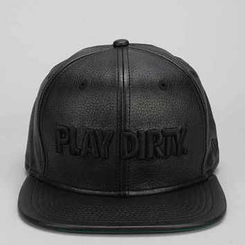 Undefeated Play Dirty Faux-Leather Snapback Hat- Black One