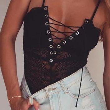 Wow Factor Sheer Lace Sleeveless Spaghetti Strap Plunge V Neck Lace Up Bodysuit Top - 2 Colors Available