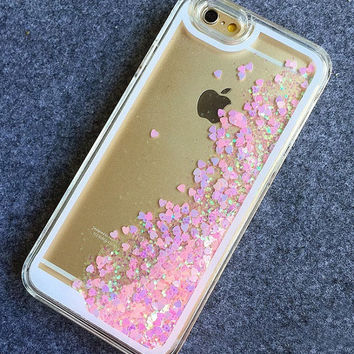 iPhone Liquid Glitter Heart Case / iPhone 5/5S/6/6 Plus Liquid Hologram Flowing Heart Case / iPhone 3D Case