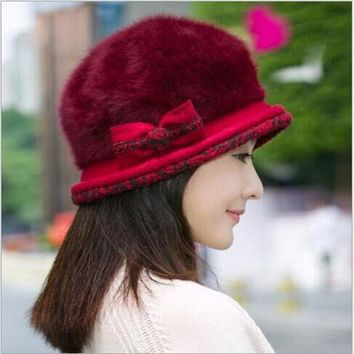 VONESC6 Ear Flower Beret Hat Warm Spring Autumn Women Rabbit Fur Winter Hat For Women Girls Point Hats Caps Hat Women Skullies