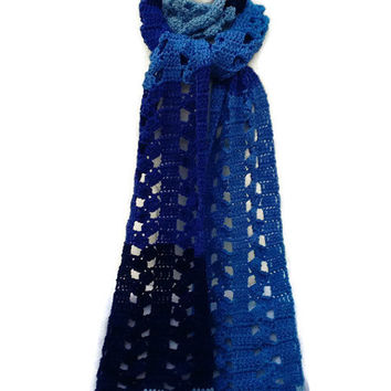Super Extra Long Scarf Shades of Blue Crochet Pattern PDF File Not a Finished Product