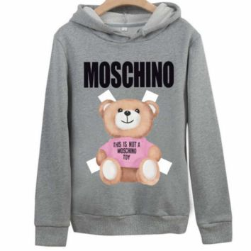 Moschino autumn and winter style tide brand lovers print bear cub hood long sleeve pullover sweater Grey