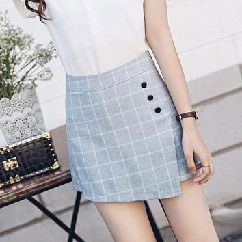 Hot Shorts Summer Korean Style  Skirts 2018 Women Casual Plaid High Waist Two Pieces  Culotte Elegant Plus Size office AT_43_3