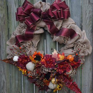 Square Fall Burlap Wreath with Rich Colors & Full Foliage, Fall Burlap Wreath, Unique Fall Wreath, Fall Foliage, Burlap Thanksgiving Wreath