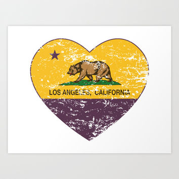 California Flag Los Angeles Heart Purple Art Print by NorCal