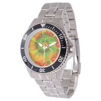 Hot Summer Green Orange Abstract Colorful Fractal Watch
