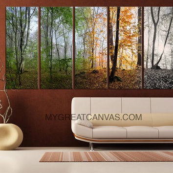 Extra Large Wall Art 5 Set Canvas 4 Season Forest | Four Season Forest Art Canvas Print - MC144