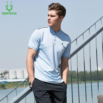 Vansydical 2018 Mens Sports Polo Shirts Quick Dry Running Jogger Tops Stand Collar Tennis Golf Training T-shirts