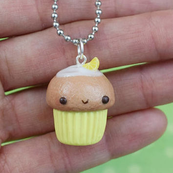Kawaii Yellow Cupcake Necklace | Polymer Clay | Charm Necklace | Lemon Slices | Miniature Sweet Food |Handmade Gift | Cute Kawaii