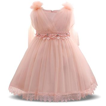 Sweet Pink Princess Baby Tulle Dress Girl Infant Party Dress Toddler Baptism Christening Gown 1 Year Birthday Baby Girl Outfit