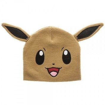 POKEMON EEVEE BIG FACE Knit Beanie Cosplay Cap Hat (790654)
