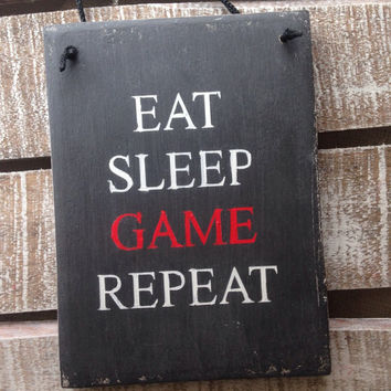 eat sleep game repeat. funny gift. teenagers room. xbox fan. playstation. rustic wood sign.