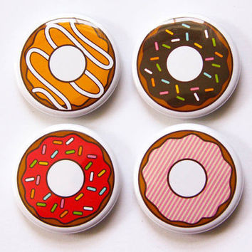 Donut Magnets Set - 4 refrigerator magnets, foodie gift, magnet party favor, kitchen decor, donut art, fridge magnet set, doughnut lover