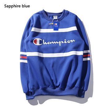 Champion Autumn And Winter New Fashion Letter Print Women Men Long Sleeve Top Sweater Sapphire Blue