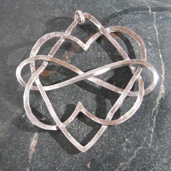 Celtic Knot Sterling Hearts Pendant, Infinity Necklace, Hand Made Love Symbol, Viking, Renaissance Jewelry, Metalsmith Made, Hammer Forged