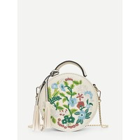 Floral Embroidered Crossbody in White