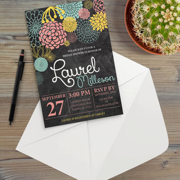 Instant Download - Chalkboard Mod Flowers Floral Illustration Cottage Shabby Chic Garden Summer Party Invitation Template