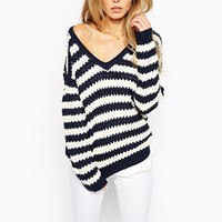 Vila V-Neck Stripe Jumper