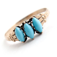 Antique Victorian 10k Rose Gold Turquoise Ring - Size 7 1/4 1800s Fine Jewelry / Triple Teal Blue