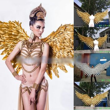 Gold Angel Wings Props Catwalk Feather Wings Wedding Cosplay Custom