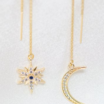 9927e4b52abb My Moon and Stars 14K Gold Filled with Rhinestone Blue Crystal Center Stone  Threader Statement Dangle