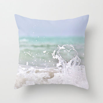 Ocean Heart Pillow Cover, Beach Cottage Decor, Ocean, Blue Ombre, Nautical