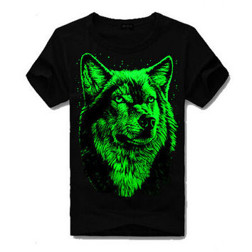 Mens Boys Cool Slim Luminous Wolf T-Shirts