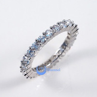 Wedding ETERNITY RING 3mm Band Signity CZ Rhodium over Sterling Silver