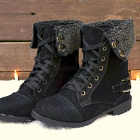 Cambridge Black Fur Cuff Lace Up Boots
