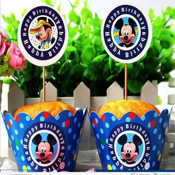 24pcs Cartoon Mickey Mouse Cupcake Wrappers and Toppers pick Kids Happy Birthday letter Family party Decoration cake Supplies