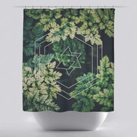 Unique Shower Curtain - Green Hex by Leftfield_Corn