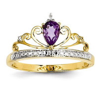14k Gold Diamond and Teardrop Amethyst Crown Princess Ring