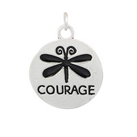 Charm to Add to Expandable Bangle Bracelet Courage with Dragonfly