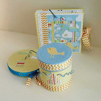 Scrapbook photo album, Baby book, Kids journal, box for trasures, box for discs, school gift, handmade