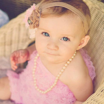 Newborn Lace Romper, Baby Romper Set, Newborn Photo Prop, Baby Girl Romper, Petti Romper, Light Pink Lace Romper and Headband Set