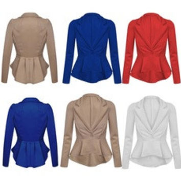 Women's Crop Frill Shift Fitted Peplum Cardigan Blazer Ladies Jacket Coat [7669366214]