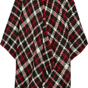 Boutique Moschino - Checked wool-blend bouclé poncho