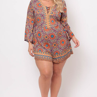 Plus Size Floral Border Print Romper - Orange/Navy