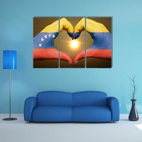 Gesture Made By Venezuela Flag Multi Panel Canvas Wall Art