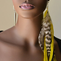 Grizzly and Yellow Asymmetrical Feather Earrings by MarcieRoxx