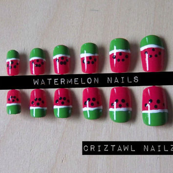 Watermelon Nail Art Set by CriztawlNailz on Etsy